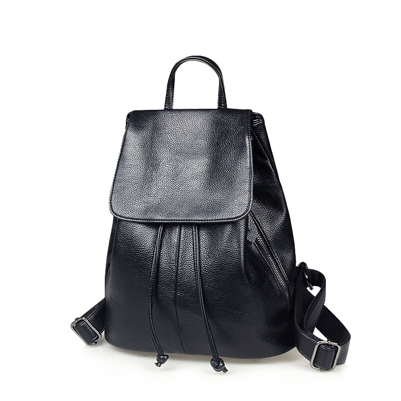 Simple soft leather Japan and South Korea leather women shoulder bag leather fashion leisure Korean ladies backpack wave
