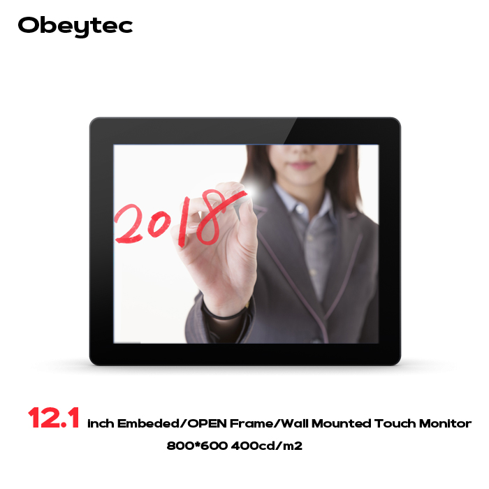 Moniteur tactile à cadre ouvert capacitif industriel Obeytec 12.1 pouces, écran tactile PCAP, 10 Points, luminosité 400cd LCD, 1024*768
