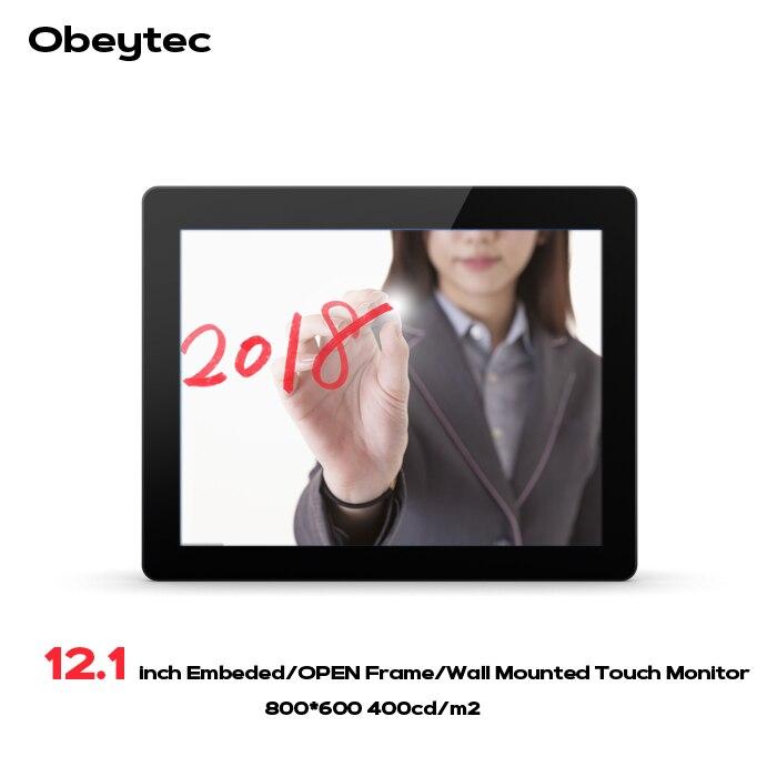 Obeytec 12.1 Capacitivo di pollice Industriale Open Frame Monitor Touch, PCAP touch screen, 10 Punti, alta Luminosità 400cd LCD