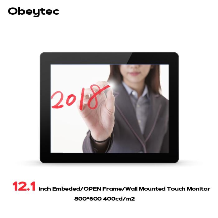 Obeytec 12.1 pouce Industrielle Capacitif Cadre Ouvert Tactile Moniteur, PCAP écran tactile, 10 Points, haute Luminosité 400cd LCD