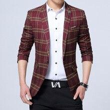 1pcs Men s Plus size slim fit blazer jackets 2017 Autumn Cotton blended Single button plaid