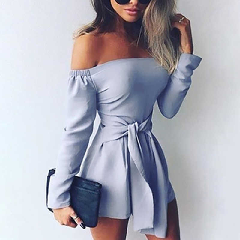 8e658afb3fa0 ... Rompers Womens Jumpsuit 2018 Autumn Playsuits Sexy Off Shoulder Slah  Neck Casual Bodysuit Solid Long Sleeve ...