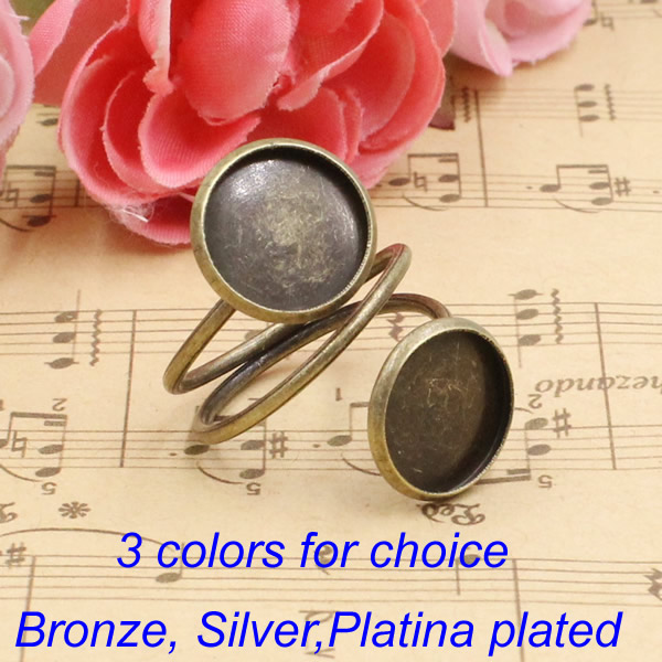 Fit 12mm Cabochons  Finger Ring Round  Bronze Silver Platina Plated /Glass/ Frame Bezel Setting Ring:19mm 10pcs/lot (K00559)