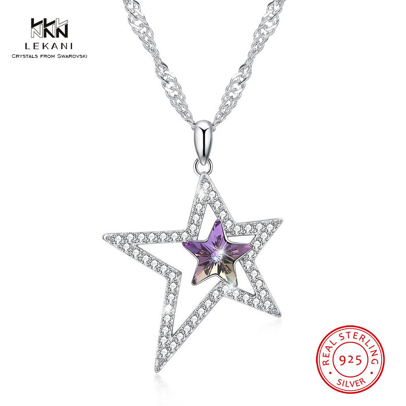 Detail Feedback Questions about LEKANI Crystals From Swarovski Necklace 925  Size five pointed star necklace Women s accessories boutique jewelry Long  ... 8e4bbb2526da