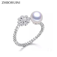 2015 Fashion Pearl Ring Snowflake Freshwater Pearl Ring Wedding Rings 925 Sterling Silver Jewelry Rings For