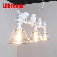 LEDream Çağdaş ve sözleşmeli kırsal restoran lamba droplight droplight üç yaratıcı kişilik bar led lambalar kuşlar