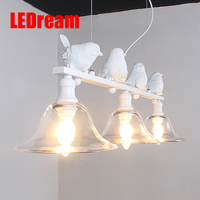 Contemporary And Contracted Rural Nordic Restaurant Lamp Droplight Three Creative Personality Bar Led Lamps Birds Droplight