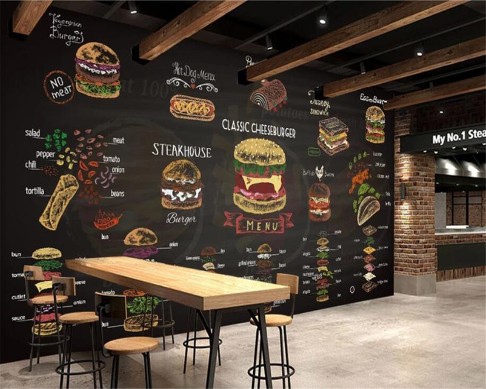 Us 8 4 44 Off Beibehang Custom 3d Wallpaper Mural Hand Drawn Colorful Chalk Burger Fast Food Burger Shop Decoration 3d Wallpaper Papel Tapiz In