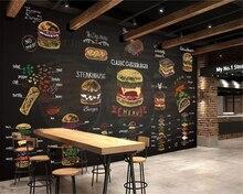 Beibehang Custom 3d Wallpaper Mural Hand drawn colorful chalk burger fast food shop decoration wallpaper papel tapiz