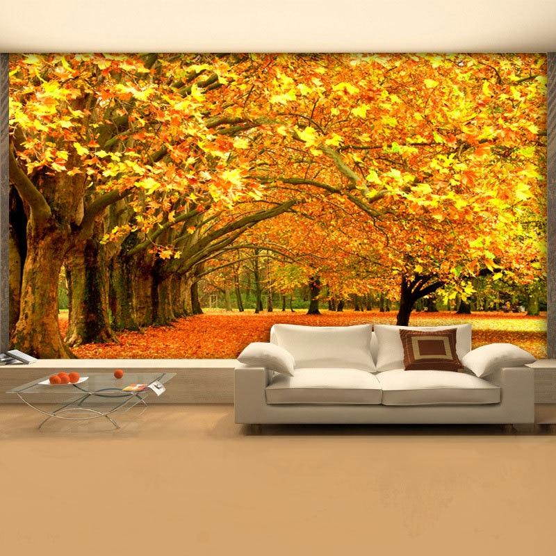 Hyatt Large Wall Mural TV Background TV Golden Maple Autumn Forest  Wallpaper Wall Covering 3D Stereoscopic ... Part 78
