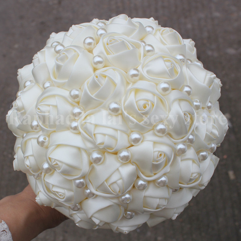 Pure Color Ivory Pearls Bridal Wedding Bouquets Artificial Flower ...