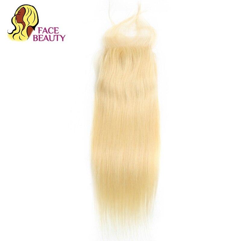 Facebeauty Peruvian Remy Human Hair Lace Closure Pure 613 Honey Platinum Blonde Straight Hair 4x4 Free