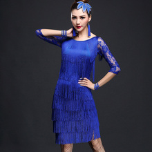 2019 New Sexy Unequal Women Girls Lace Tassel Latin Skirt Ladies Fringe Tango Ballroom Salsa Performance Dance Dress