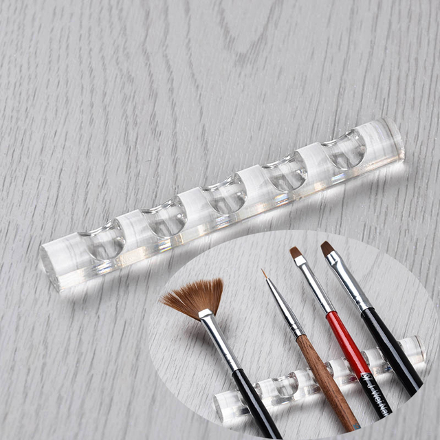 Nail Tool Pen Brush Rack Clear Acrylic Stand Holder for 5 Nail Pens