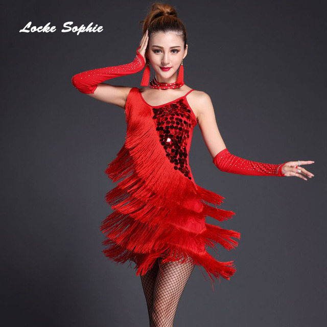 21e0d0fe4ea 1pcs Women s Sexy latin dance dress 2018 Sequins Tassels Mosaic dance  costume dresses ladies latin dance