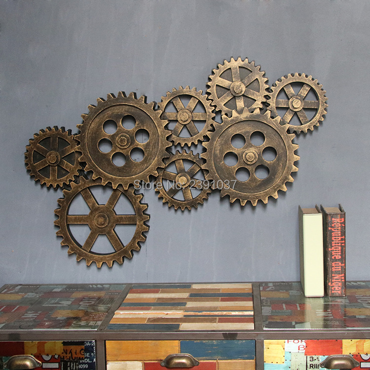 Rétro industriel vent mur décorations en bois mur ameublement créatif même gear bar décoration ornements