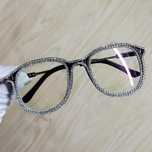 Image 3 - 여성을위한 라인 석 고양이 눈 선글라스 브랜드 디자이너 그늘 태양 안경 남자 빈티지 금속 지우기 안경 uv400 선 글래스