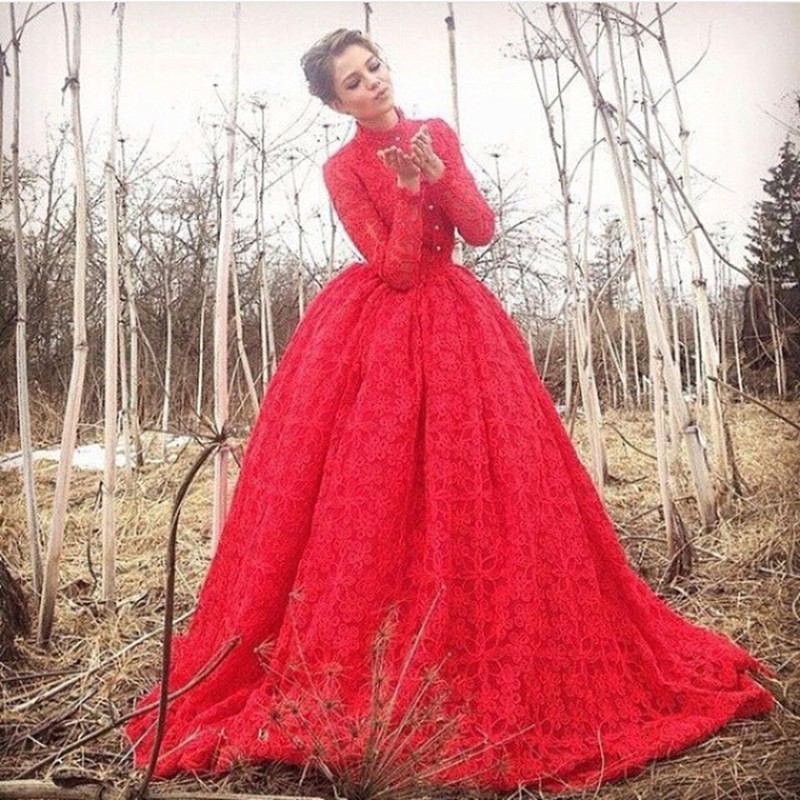 Red Long Sleeve Lace Muslim Evening Dress 2016 High Neck On Sale
