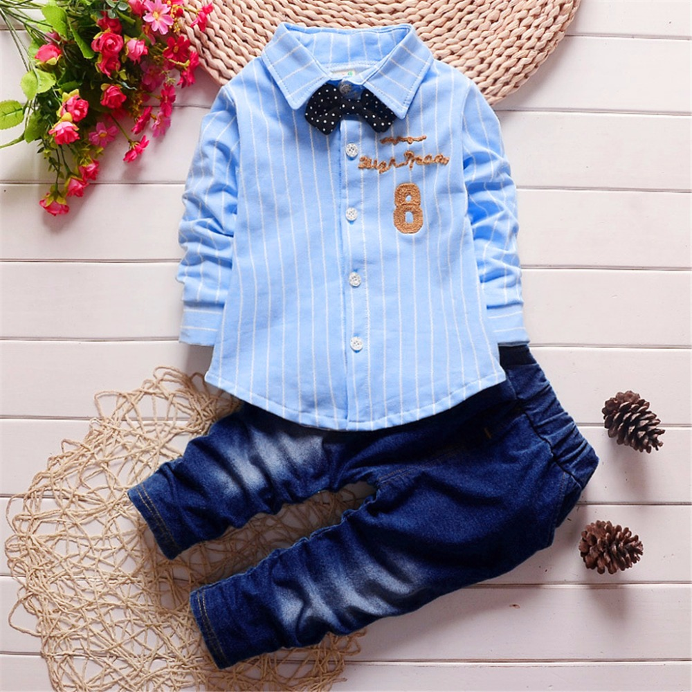 2017 New Spring/Autumn Baby Boy Long-sleeve Shirt+Jeans Set Stripe Daily Party Gentleman Outfit Clothes 6M-3T Children Costume new hot sale 2016 korean style boy autumn and spring baby boy short sleeve t shirt children fashion tees t shirt ages