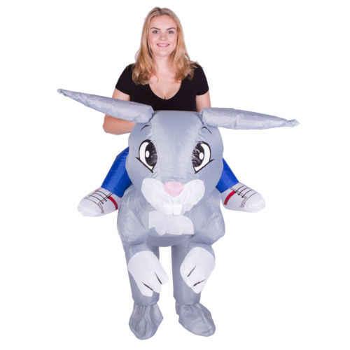 Adulto divertido Animal inflable conejo vestido de disfraces traje de paseo en conejo mascota disfraz de Halloween Purim Stag