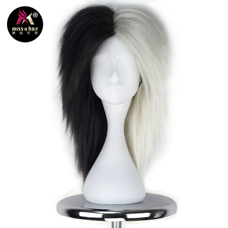 Synthetic Wigs Hair Extensions & Wigs Miss U Hair High Temperature Fiber Half Black Half Blonde White Hair Medium Kinky Straight Cosplay Costume Party Wig For Women