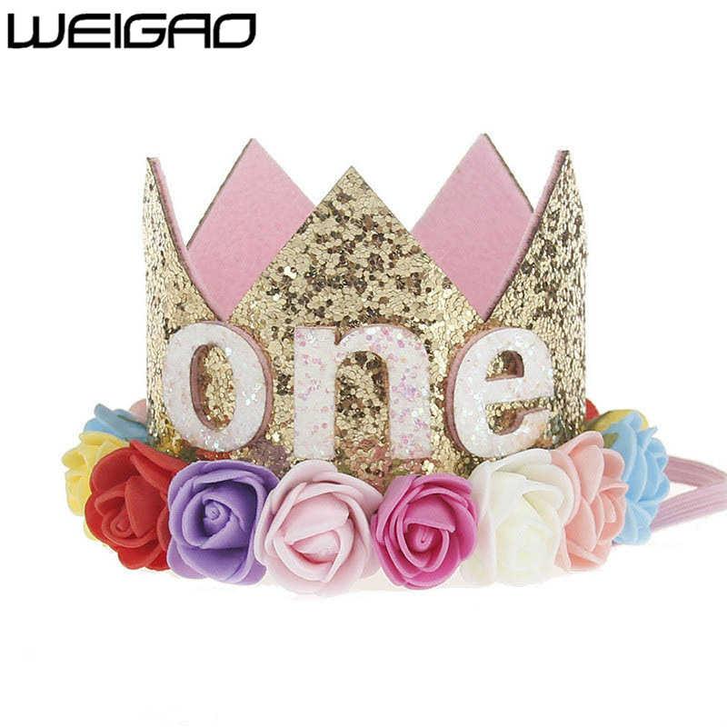 WEIGAO 1 adet 1 2 3 Doğum Günü Kapaklar Çiçek Taç 1st doğum günü şapkası Yenidoğan Bebek Doğum Günü Kafa Bandı 1 Yıl Doğum Günü Partisi süslemeleri