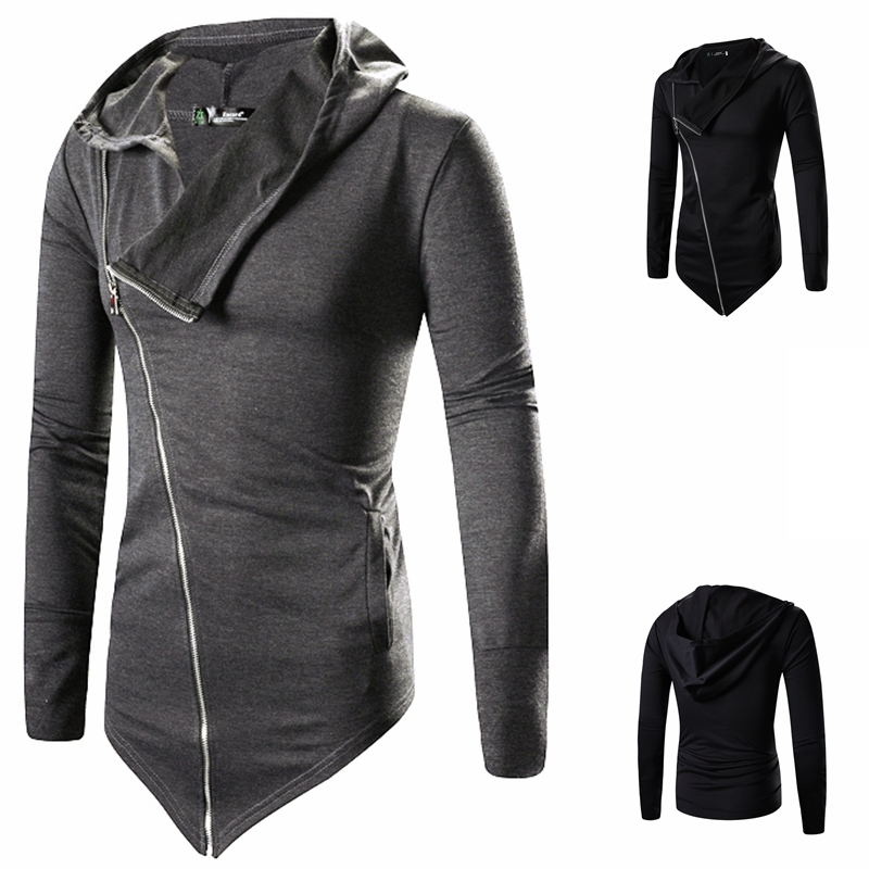 Men Hooded Jacket Black Gown Zipper Hoodie Sweatshirts Hip Hop Mantle Long Sleeves Wizard Cloak Solid Color Coats Outwear Cotton