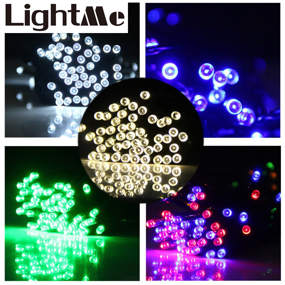 Colorful 15m 100 LEDs Solar String Light IP65 Water Resistant Christmas Props Xmas Tree New Year Decors Festival Supplies