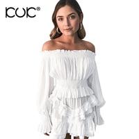 Kuk Chemise Femme Chiffon Blouse Women White Shirt Off Shoulder Top Long Sleeve Beach Tunic Backless