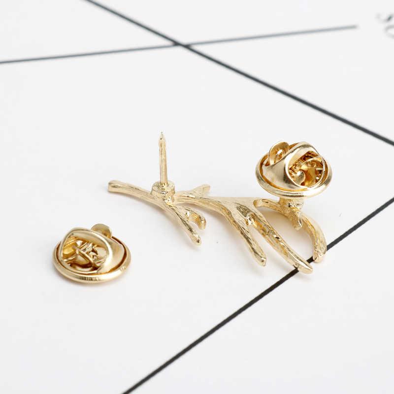 Dongsheng Hot Sale Tanduk Rusa Bros Pins Mode Pengecer Duri Ganda Kerah Pin Bros Perhiasan Hadiah Natal-40