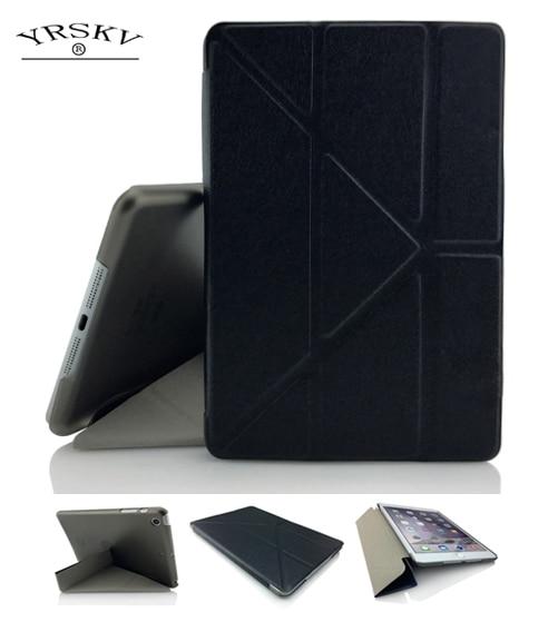 Case for iPad mini 4 YRSKV Multiple fold PU Leather Slim Magnetic Smart Auto Sleep Wake Skin Hard PC Back Case For Apple iPad