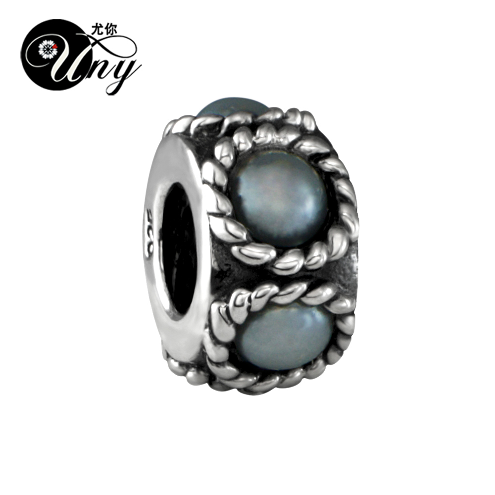UNY Unique Vintage Beads DIY European bead Fit Pandora charm bracelet Beads 925 Silver Pearl Spacer Bead Fit Pandora Charms