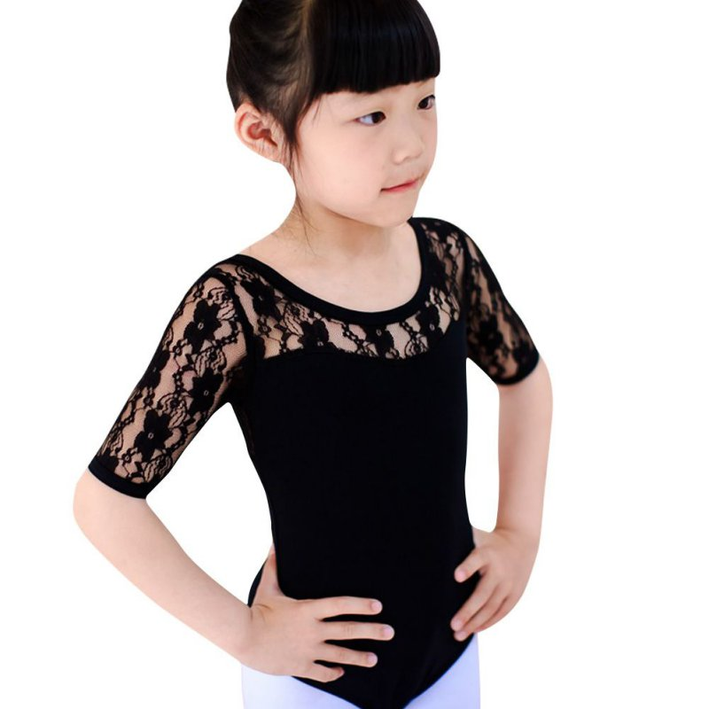 Kids Bodysuit Girls Ballet Dance Short Sleeve Clothes Dancewear Nastics Leotard Costume Lace Skirt Tutu Strap Dress