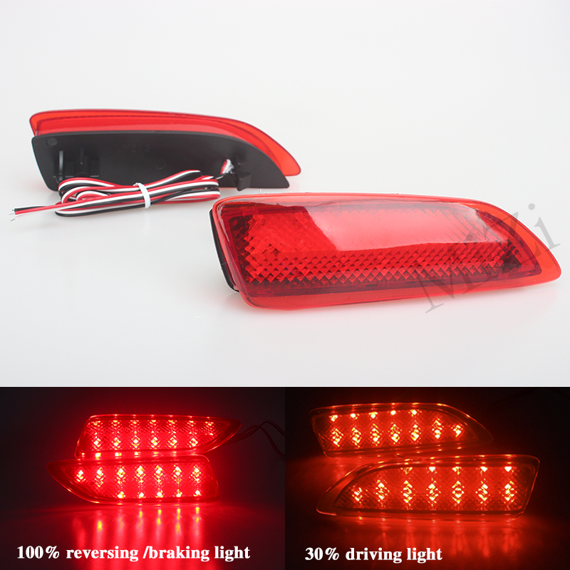 For 2011-2012 Toyota Corolla Lexus CT Parking Warning Brake Tail Lamp Red Lens Rear Bumper Reflector Light LED Red Bulb 2 PCS купить дешево онлайн