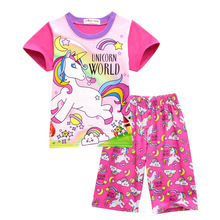 Summer Girls Home Service Suits Children Cute Pink Unicorn Pajamas Kids Casual Loose Clothes