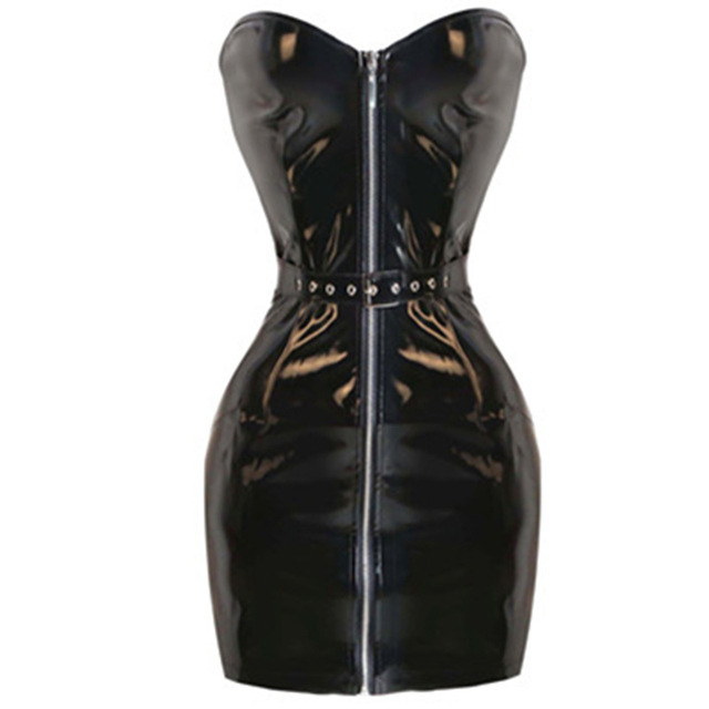 9cc37b5499 2016 shiny black PVC wetlook off shoulder new bodycon dress plus size Sexy  latex dress PVC latex teddy catsuit with front zipper
