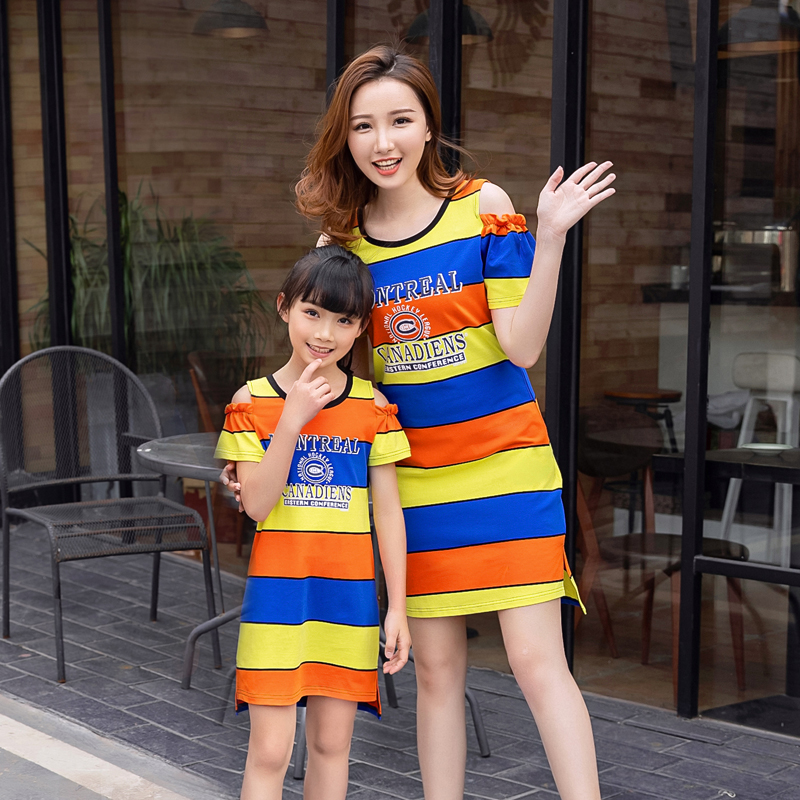 Mom Daughter Dress Family Matching Outfits Dad and Son Short Striped T-shirt White Shorts Set Color Dresses