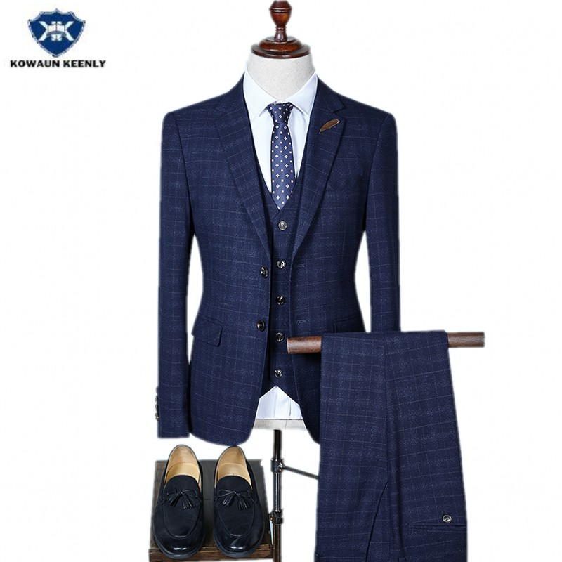 Kowaunkeenly 2018 new arrival high quality mens Fashion plaid single-breasted suit,3-piece smart casual suit men,big size S-4XL