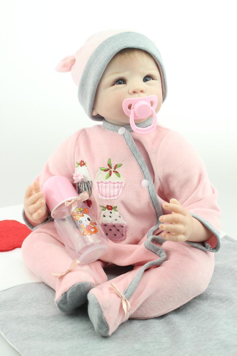 22inches 55cm Handmade Lifelike Baby Girl Doll Silicone Vinyl Reborn Newborn Dolls+Clothes lifelike american 18 inches girl doll prices toy for children vinyl princess doll toys girl newest design