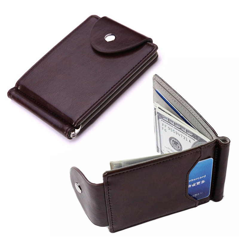 Slim Money Clip Wallet Ultra-thin Leather Money Clip Cards Stainless Steel Purse Minimalist Mini Wallet Bifold for Men