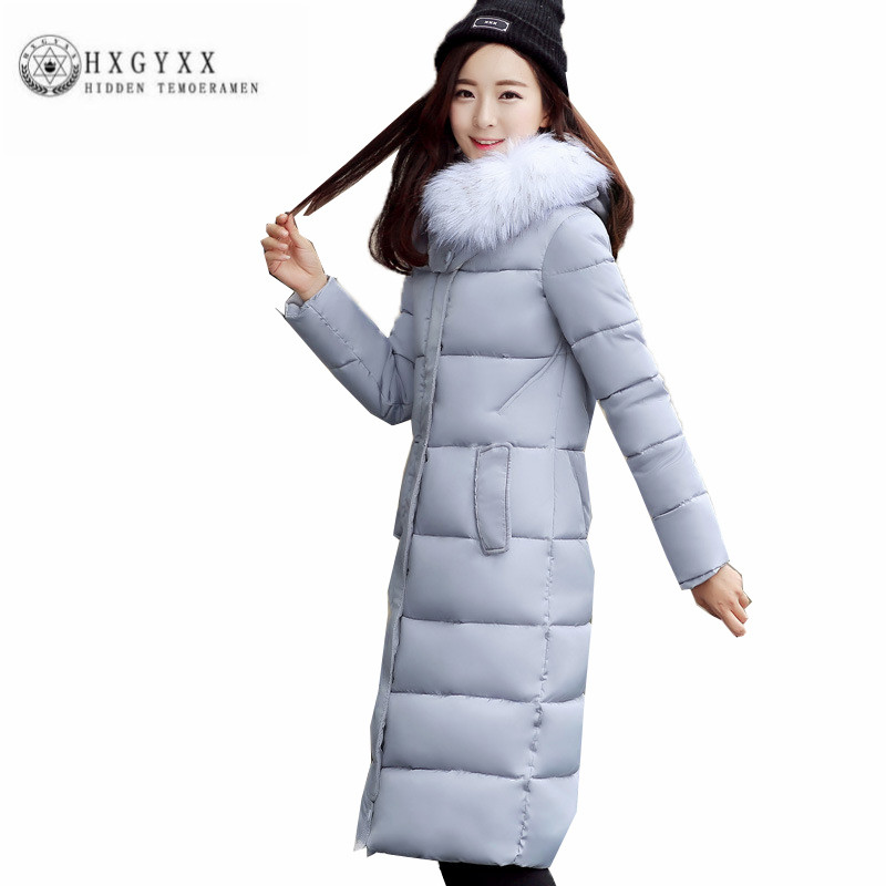 Han edition New Winter Women Cotton Coat Big fur collar Big yards Warm Outerwear Fashion simple Female Long Wadded jacket ZX0155 women winter coat leisure big yards hooded fur collar jacket thick warm cotton parkas new style female students overcoat ok238