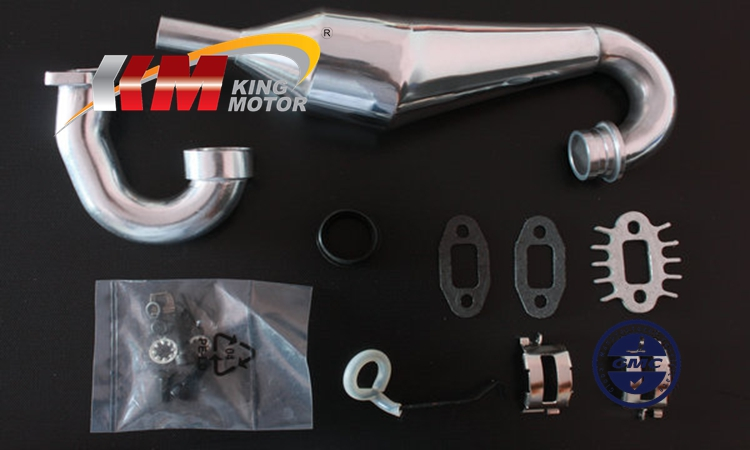 High Performance Polished Aluminum Tuned Pipe Fits HPI Baja 5B, SS, 2.0, 5T and King Motor and Rovan Baja buggies and trucks cnc aluminum front shock supports and shock brace fits hpi baja 5b ss 5t 5sc