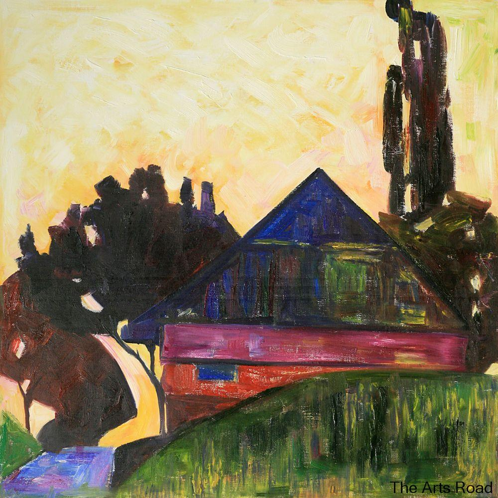 ≧Bedroom Art Paintings House Between Trees I, 1908 Egon Schiele ...