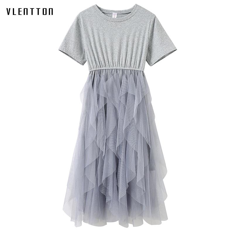 O neck long dress spring Summer 2019 new fashion short sleeve beach dress Casual Asymmetrical Mesh women
