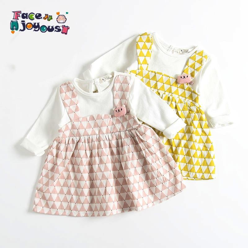 87f6a440905 0-3 años de alta calidad vestido de niña 2019 primavera nueva moda amarillo  TELA ESCOCESA Flor de algodón chico niña ropa vestido de la princesa