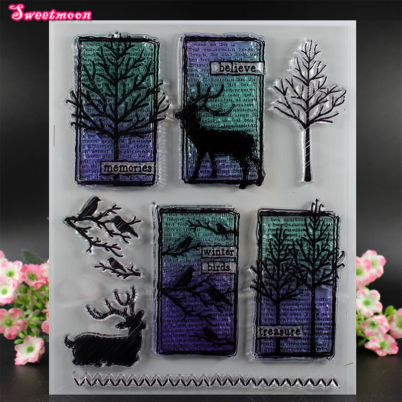 momories winter birds treasure Scrapbook Clear Stamp photo cards account rubber stamp  Embossing Folder card Stamp цена