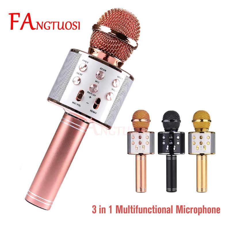 WS 858 Nirkabel Bluetooth Mikrofon Karaoke Profesional Speaker Consender WS858 Handheld Microfone Radio Studio Rekaman Mic