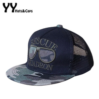 Hip Hop Hat Boys Summer Mesh Baseball Caps Sunglasses Embroidery Snap Back Children Outdoor Sun Hats