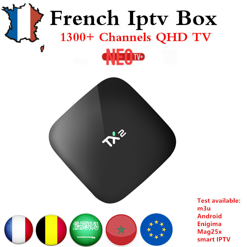 TX2 arabic  french IPTV Box 2GB/16GB Android 6.0 TV BOX  with 1 Year NEO TV+ Arabic France Belgium VOD PayTV Smart IP TV Box mag250 linux system set top box usb wifi with neo iptv french iptv arabic tunisia morocco belgium channels paytv