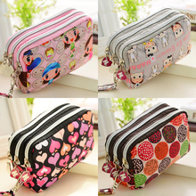Three Korean printing short zipper wallet fashion mobile phone bag with waterproof lifting rope household Wallet #DJ0306
